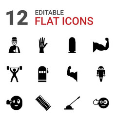 12 arm icons vector