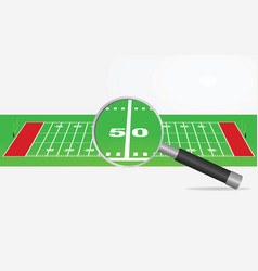 American football field and magnifying glass vector
