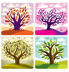 Art trees with swing on beautiful cloudy spring vector