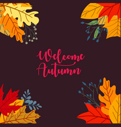 autumn sale concept design with flat leaves vector image