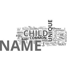 baby names unique or common text word cloud vector image