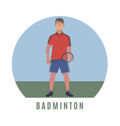 Badminton player flat style vector