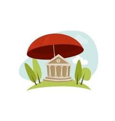bank insurance protection umbrella vector image