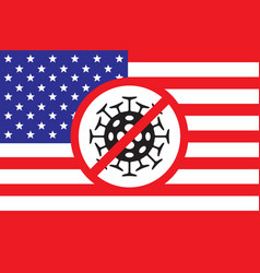 Banner on a theme coronavirus with flag usa vector