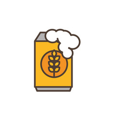 beer can foam oktoberfest icon line filled vector image