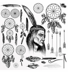 big collection or set of hand drawn tribal objects vector image
