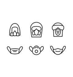 Blue individual protection mask icons set vector