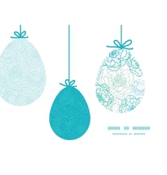 Blue line art flowers hanging Easter eggs vector