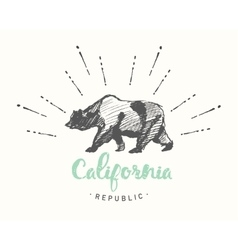 California Republic emblem drawn sketch vector image