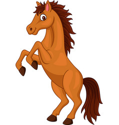 Cartoon brown horse standing isolated on white ba vector