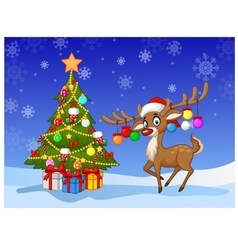 Cartoon deer standing next to Christmas tree vector