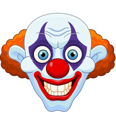 cartoon scary clown head on white background vector image