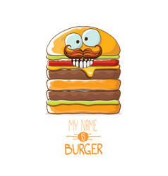 cartoon smiling big burger character with vector image