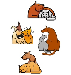 Cartooned friends cat and dog vector