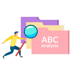 Character with magnifying glass files abc analysis vector