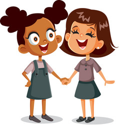 cheerful best friends holding hands vector image