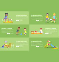 children having fun on playground web banner vector image