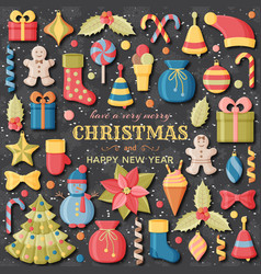Christmas background with 3d paper cut signs cute vector
