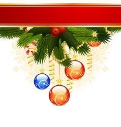 christmas card with fir mistletoe and decoration f vector image