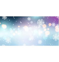 christmas snowflakes and bokeh lights banner vector image