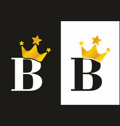 classic b initial letter with crown logo vector image