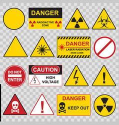 color warning danger signs icon set vector image