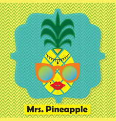Colorful cool mrs pinapple fruit emblem icon vector