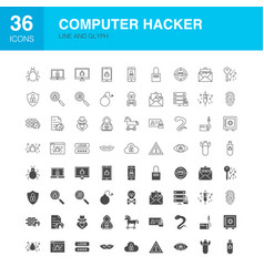 Computer hacker line web glyph icons vector