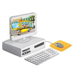 Computer screen with children on schoolbus vector