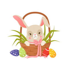 cute cartoon bunny in pink bow sitting in easter vector image