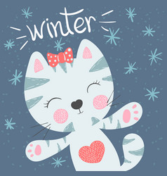 cute funny cat winter vector image
