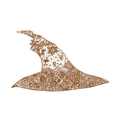decorative brown line magic hat in zentangle style vector image