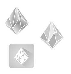 Diamond 3d shapes natural crystals outline vector