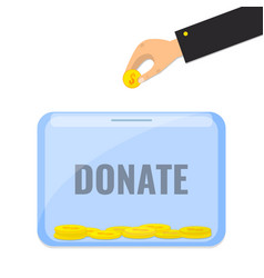 Donate money with box for donations vector