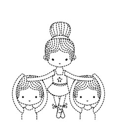 Dotted shape group dancing and practice vector