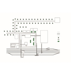 Drawing area with railroad and green spaces vector