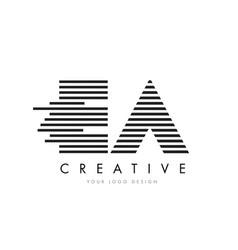 Ea e a zebra letter logo design with black and vector