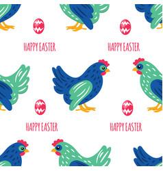 Easter paper holiday chicken bird seamless pattern vector