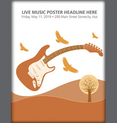 electric guitar landscape with birds vector image