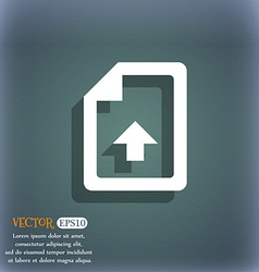 Export upload file icon symbol on the blue-green vector