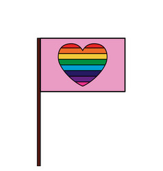 Flag gay with rainbow colors in heart vector