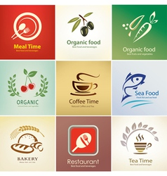 food and drinks icons set background templates vector image vector image