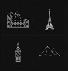 four flat landmark icons vector image