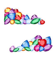 gems colorful collection of different gemstones vector image