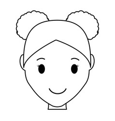 Girl cartoon iconhappy girl face cartoon icon over vector