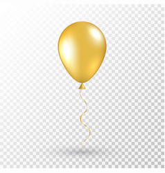 Gold balloon on transparent background realistic vector