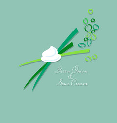 Green onions flat picture vector