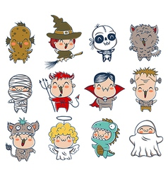 Halloween kids costumes vector