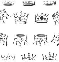 Hand draw crown pattern style vector