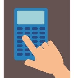 Hand touch calculator education design vector